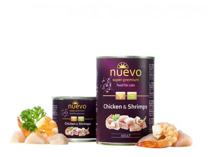 NUEVO cat Adult Chicken & Shrimps 200 g konzerva