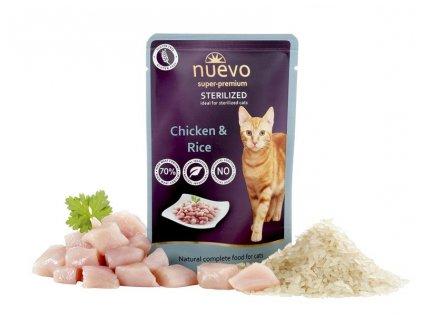 NUEVO cat Sterilized Chicken with Rice 85 g kapsičky