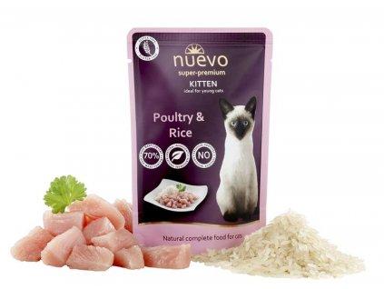 NUEVO cat Kitten Poultry with Rice 85 g kapsičky