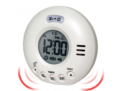 geemarc wake n shake voyager extra loud travel alarm clock with vibration white 15