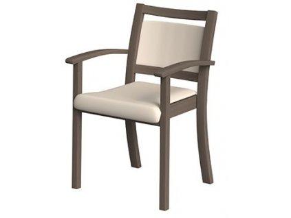 Židle s područkami, polstrovaná, s nízkým opěradlem