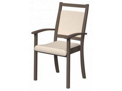 Židle s područkami, polstrovaná, s vysokým opěradlem, dřevěné madlo