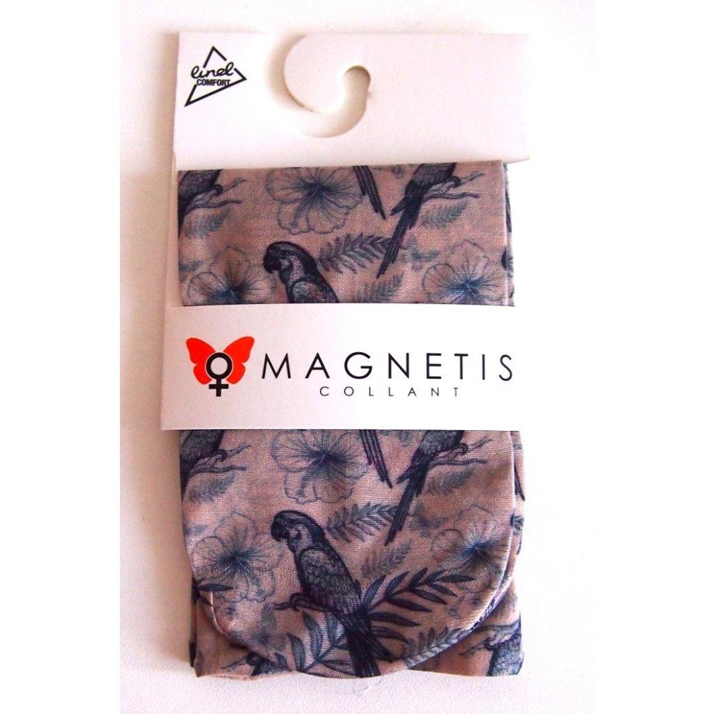 Magnetis silonové ponožky KVĚTOVANÉ s ptáčkem