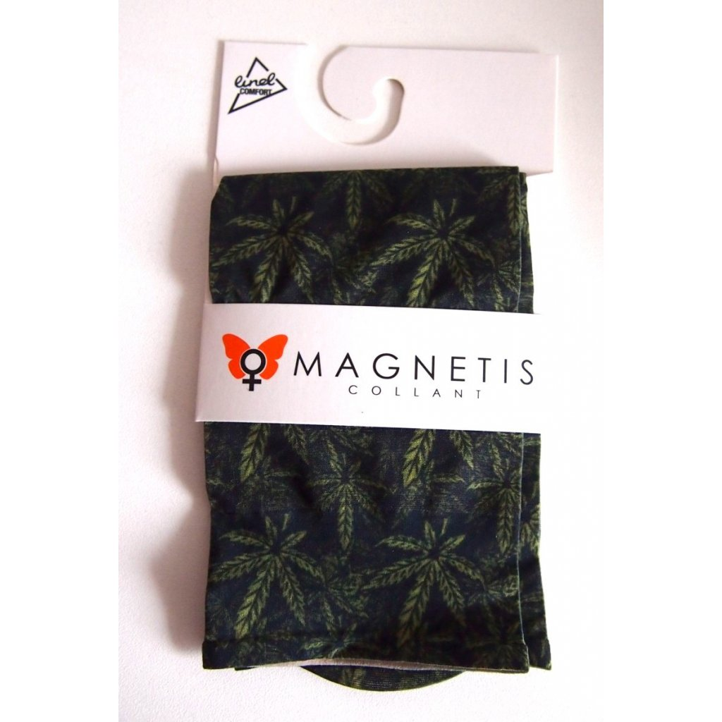 Magnetis silonové ponožky KVĚTOVANÉ s listy konopí