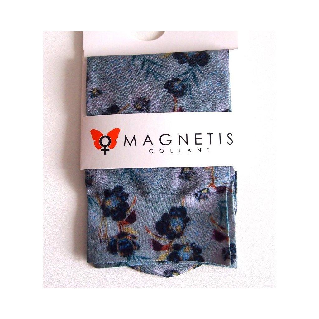 Magnetis silonové ponožky KVĚTOVANÉ modré