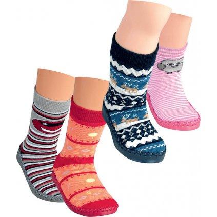 RS Dětské ponožky s koženou podrážkou