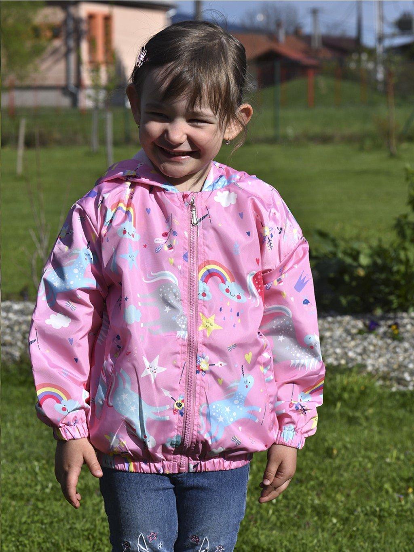 Dětská jarní růžová bunda s jednorožcem Unicorn