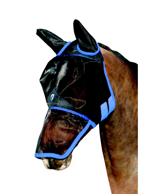 Hy Equestrian maska proti hmyzu ze síťoviny přes uši a nos