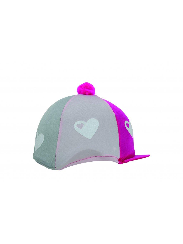 27443 Hy Equestrian Glitter Hearts Hat Cover Hot Pink´ÇóPink´ÇóSilver