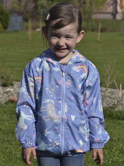 Dětská jarní modrá bunda s jednorožcem Unicorn