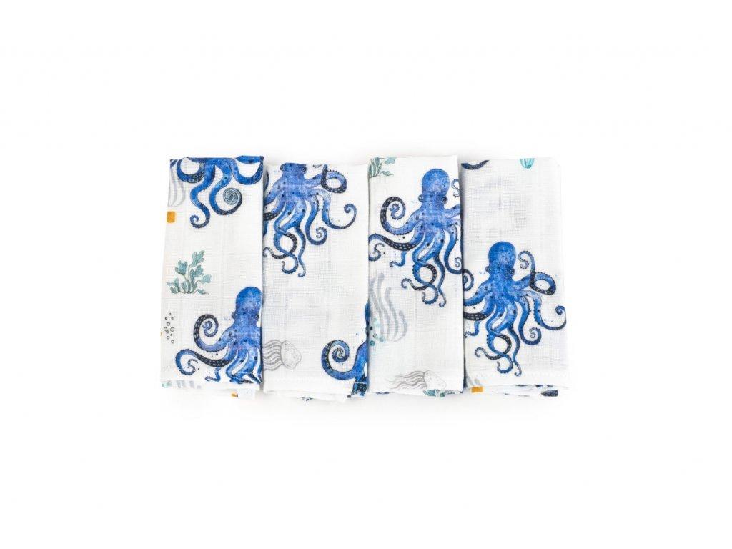 Bambusové ubrousky - Čtyřbalíček OCEAN s Chobotnicemi