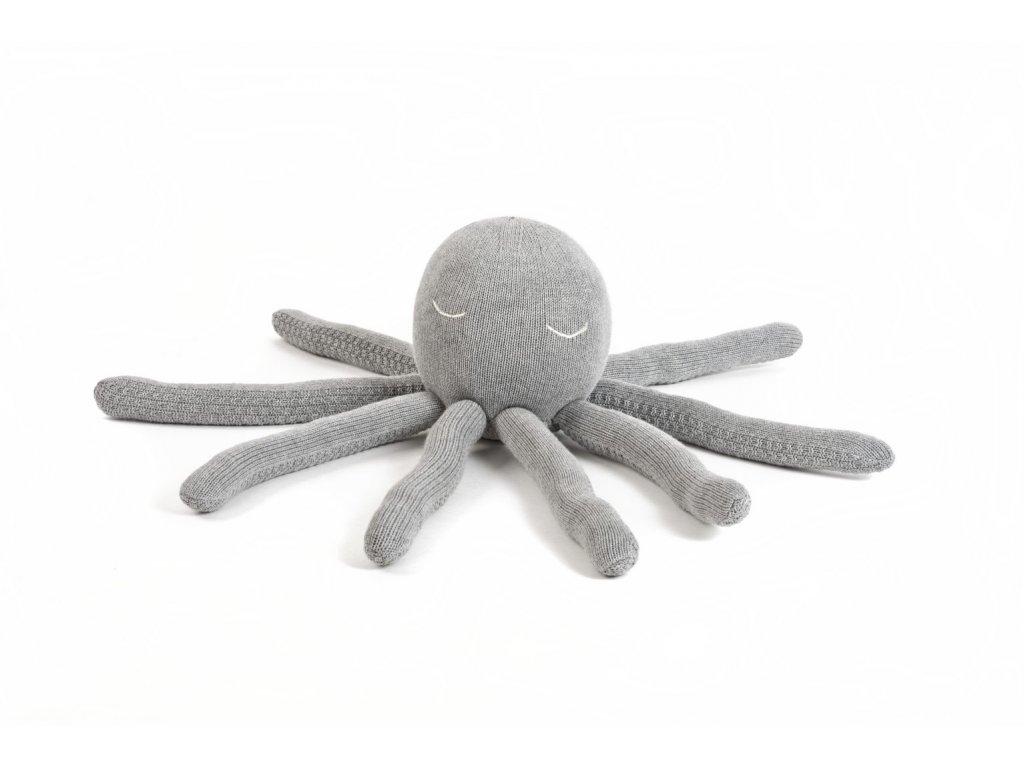 Pletena hracka chobotnice medium seda