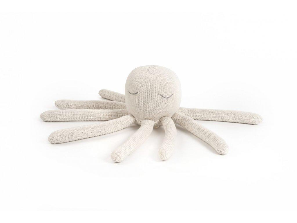 Kremova pletena chobotnicka POOFI