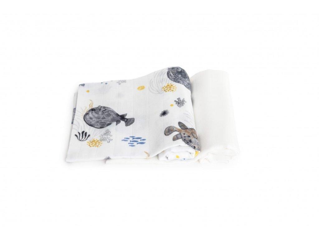Bambusové plenky OCEAN - Dvojbalíček  (s Pufferfish a bílá)  2 ks v balení