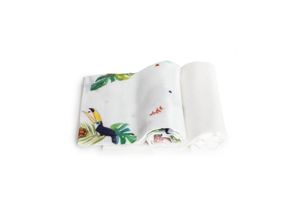 Bambusové plenky TROPICAL - Dvojbalíček (s Tukany a bílá)  2 ks v balení