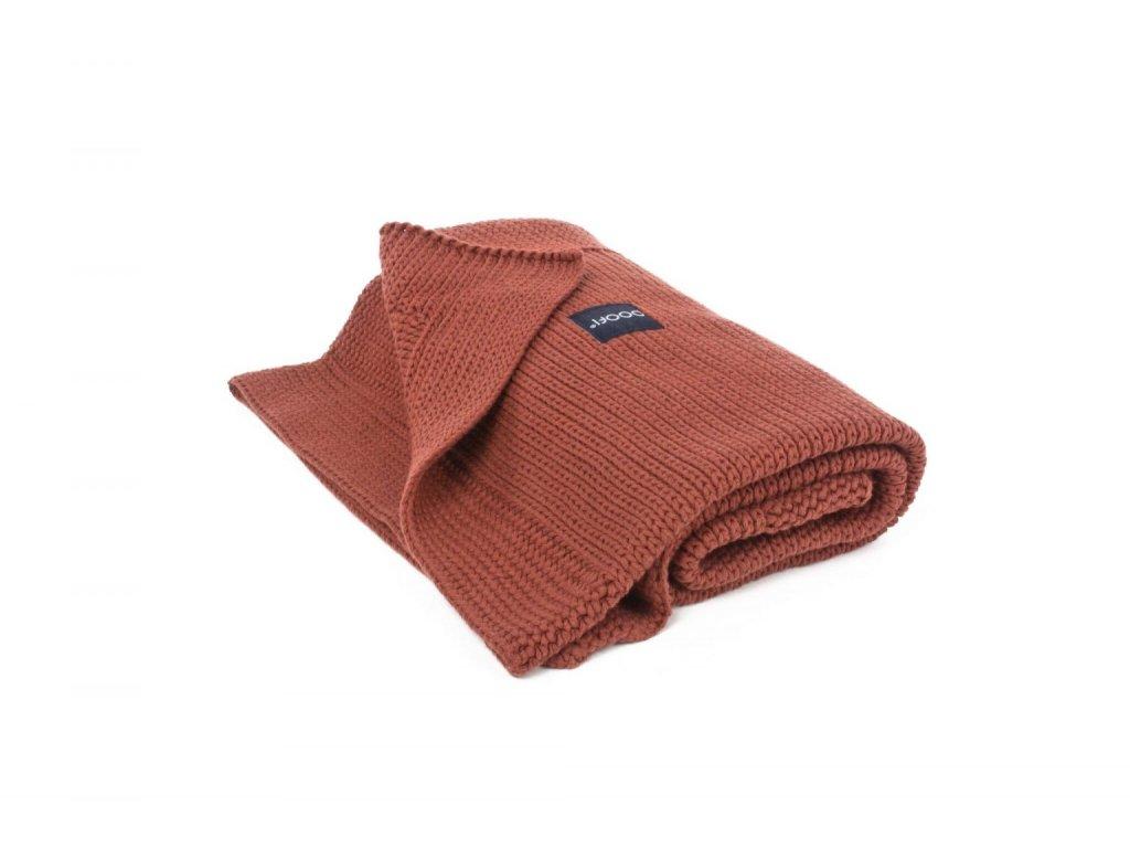 Organická pletená přikrývka  ORGANIC & COLOR - Honeycomb v cihlové barvě 90 × 75 cm