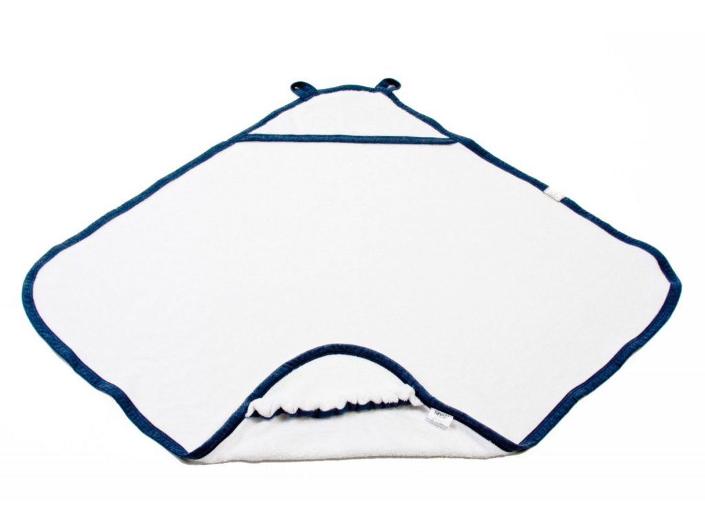 Ručník s kapucí střední bílý s modrým lemem 80 x 85 cm