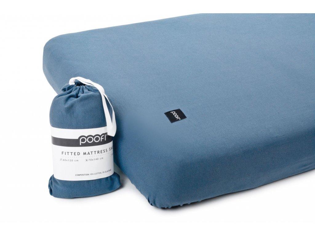 PF056 Organicke prosteradlo do postylky denim 60x120 cm modra organicka barva Poofi