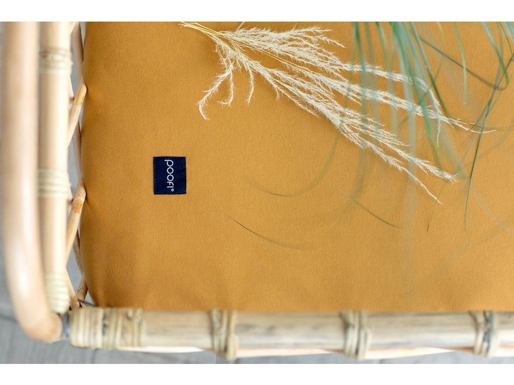 PF057 Organicke prosteradlo do postylky horcice med 60 x 120 cm zluta organicka barva Poofi