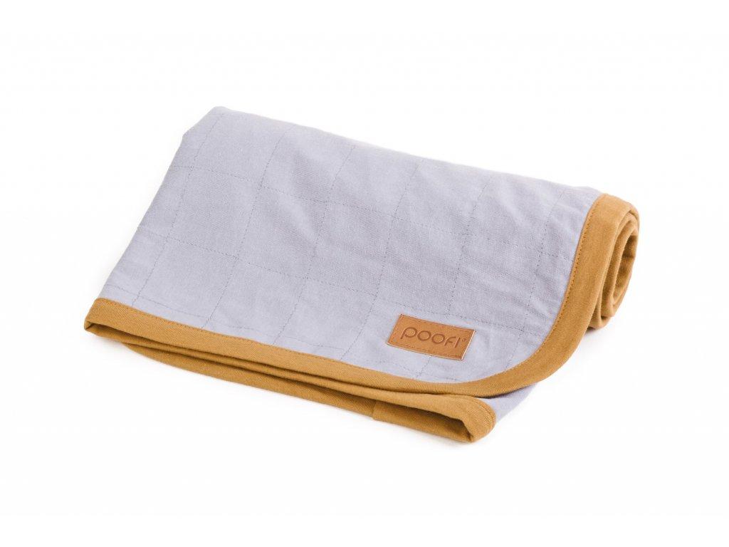 PF095 Prikryvka z organicke bavlny seda organicka barva zlute lemovani