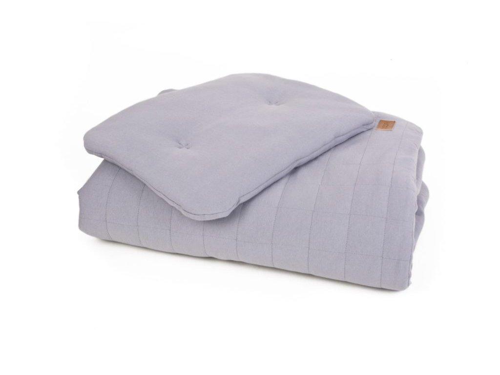 Dětská přikrývka s polštářem z organické bavlny ORGANIC & COLOR v šedé Přikrývka: 80 x 100 cm; Polštář: 30 x 40 cm