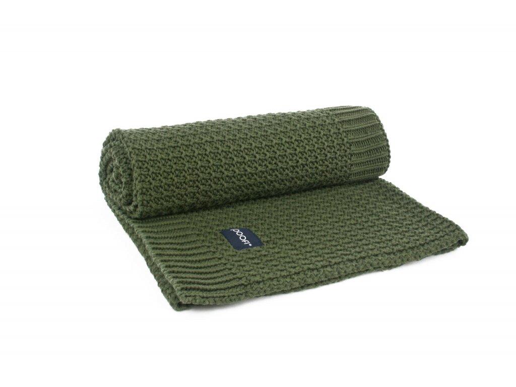 Pletená přikrývka ORGANIC & COLOR Cornknit tmavě zelená barva 80 × 100 cm