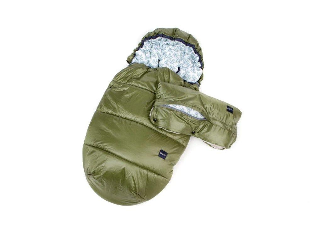 Zimní set - spací pytel + rukávník   (oliv / kapradiny)