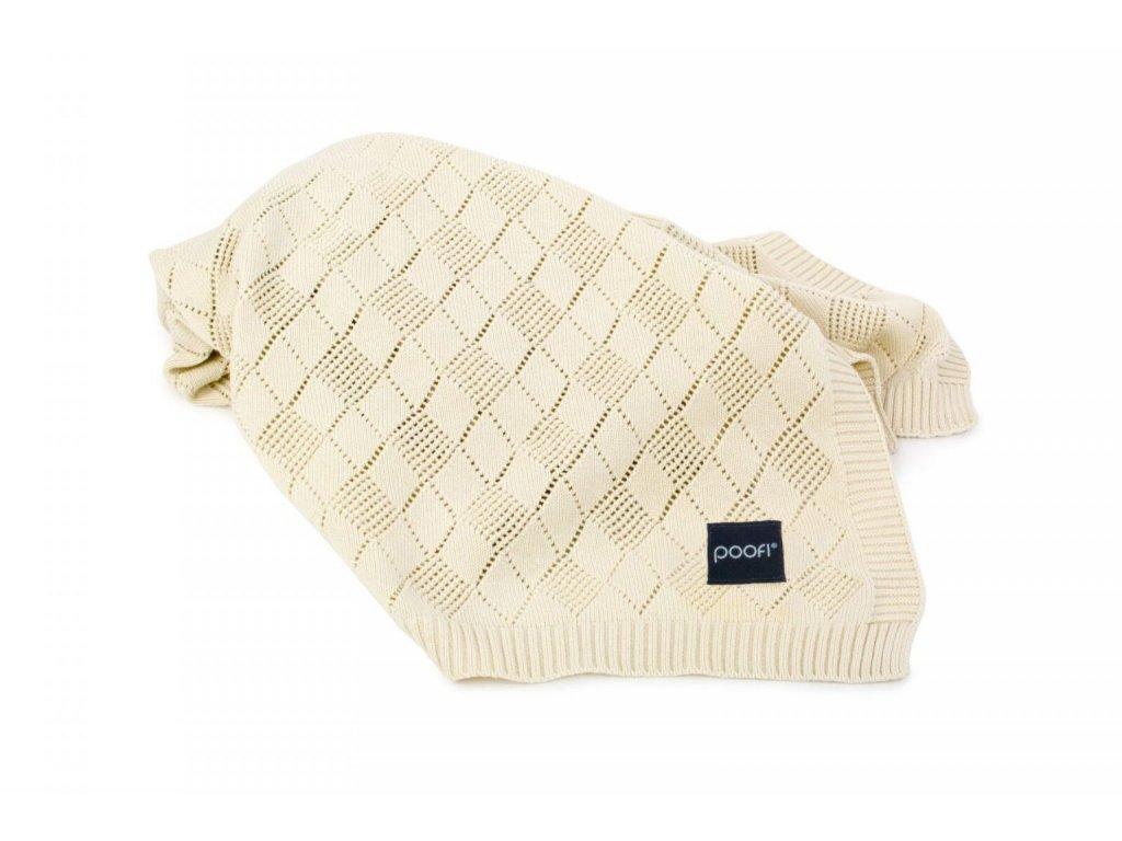 pletena deka openwork vanilkova pro miminko do kocarku od POOFI