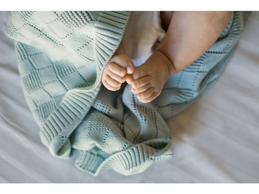 pletena deka openwork petrolejova pro miminka poofi