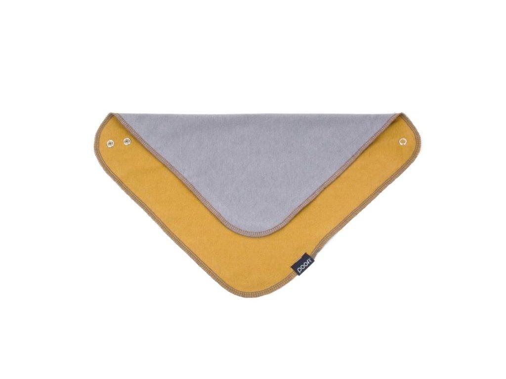 Šátek organický - barva hořčice a šedá ORGANIC & COLOR 32 x 32 cm