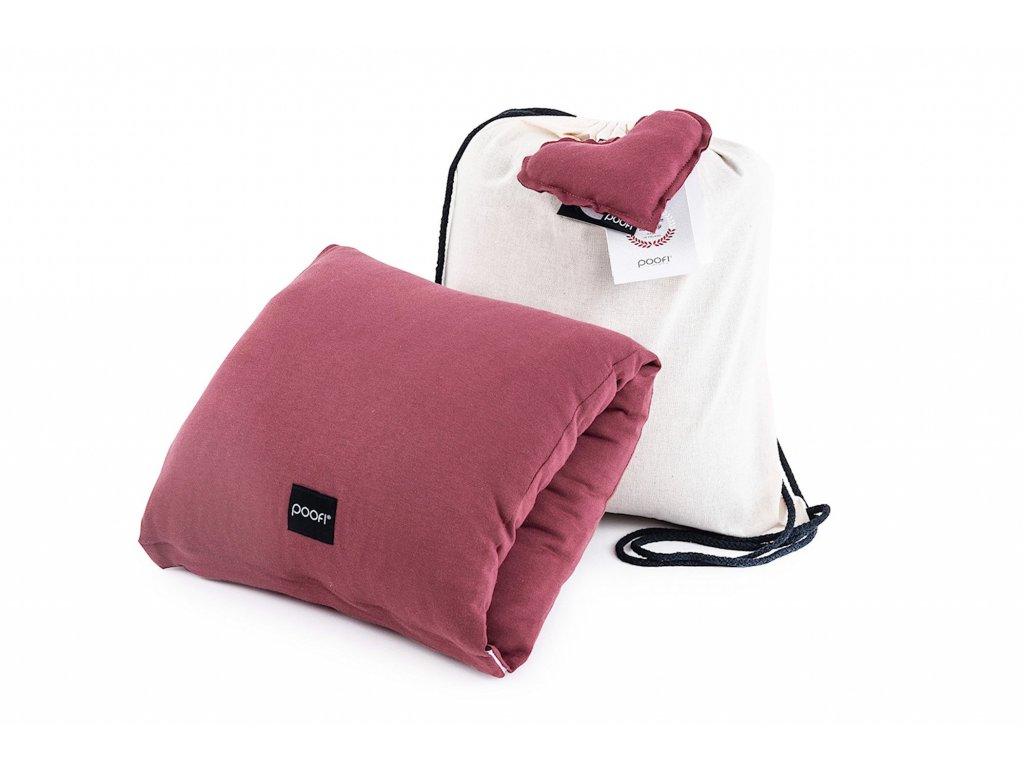 Kojici polstar na ruku z organicke bavlny v barve karminove a taska z bavlny