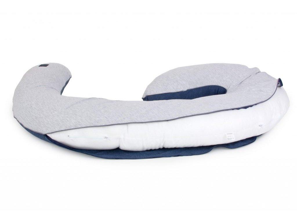 Organický obal na těhotenský polštář ve tvaru Devět ORGANIC & COLOR šedo modrý