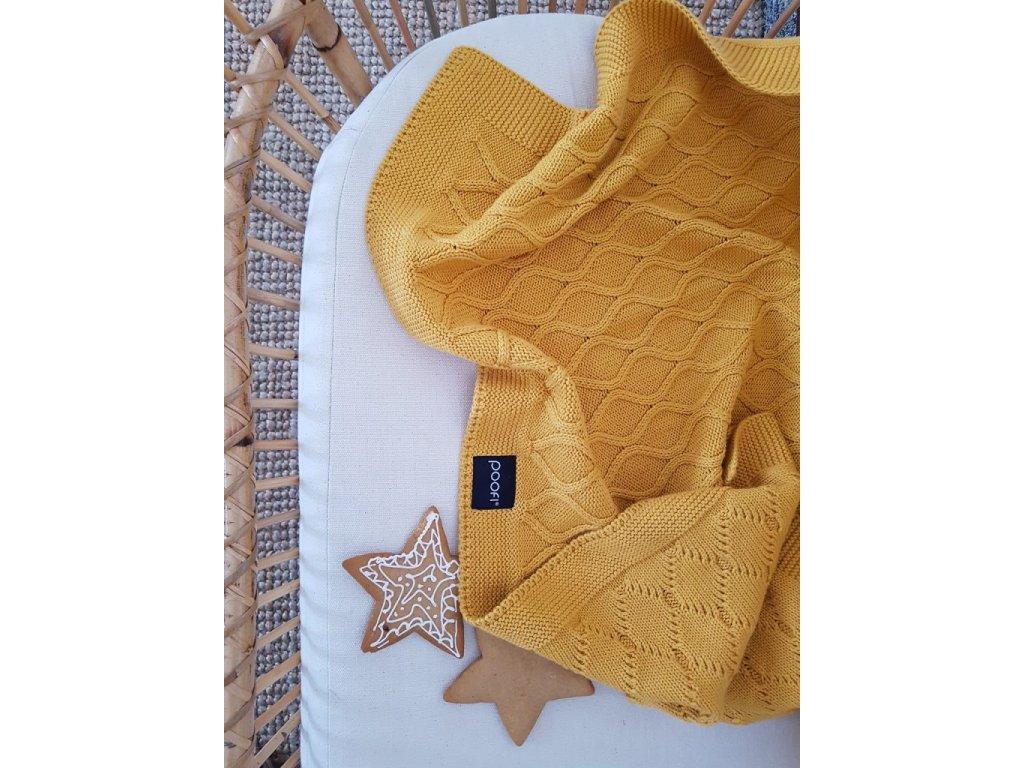 Pletená deka - Double knit hořčicové barvy 80 × 100 cm