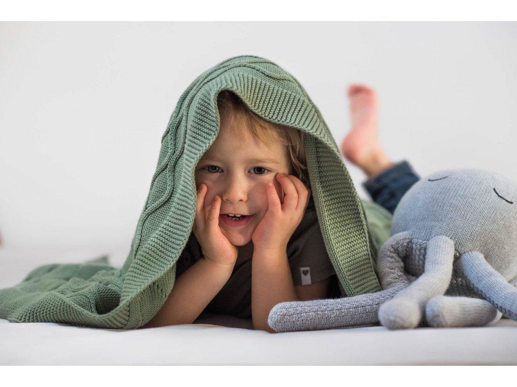 Pletena deka double knit olivova dite