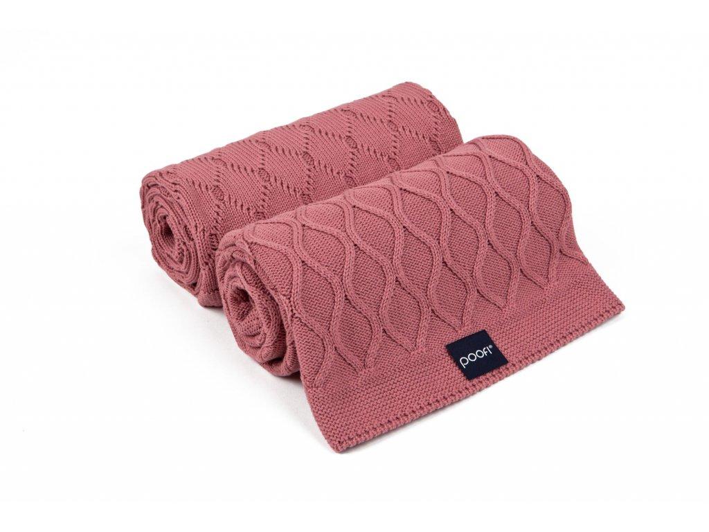 Pletena deka double knit malinova