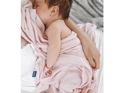 bambusova deka pro miminko ruzova