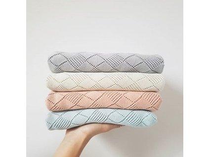 Pletená deka Openwork šedá barva 75 x 90 cm