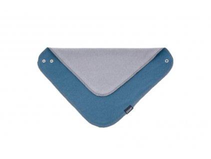 Šátek organický - barva denim a šedá ORGANIC & COLOR 32 x 32 cm