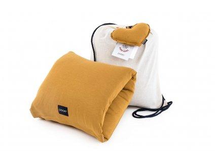 Kojici polstar na ruku z organicke bavlny v barve horcicove a taska z bavlny