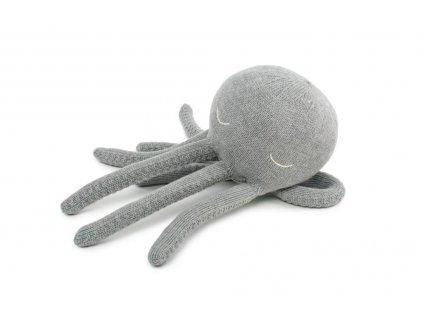 Pletená hračka pro mazlení - Malá Chobotnička šedá