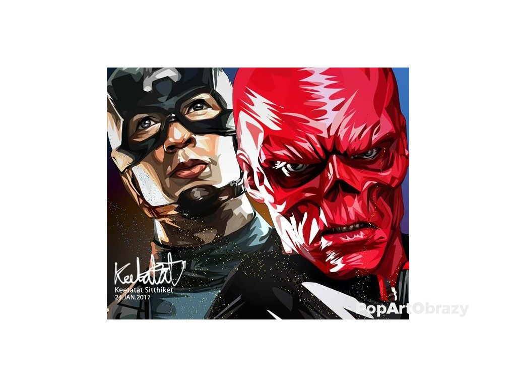 Pop Art Obrazy CAP & RED SKULL - popartobrazy.cz