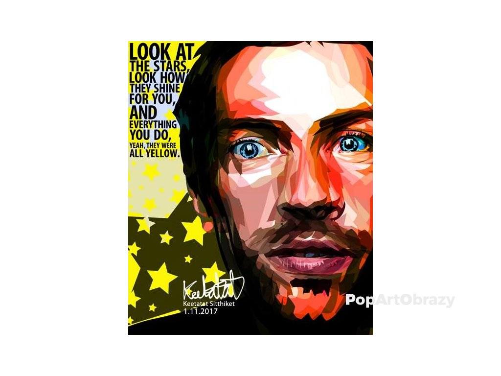 Pop Art Obrazy CHRIS MARTIN Coldplay - popartobrazy.cz