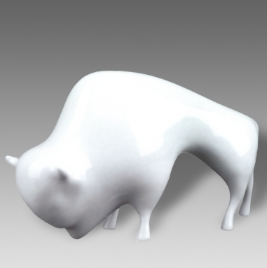 bizon--porcelanova--figurka--bile