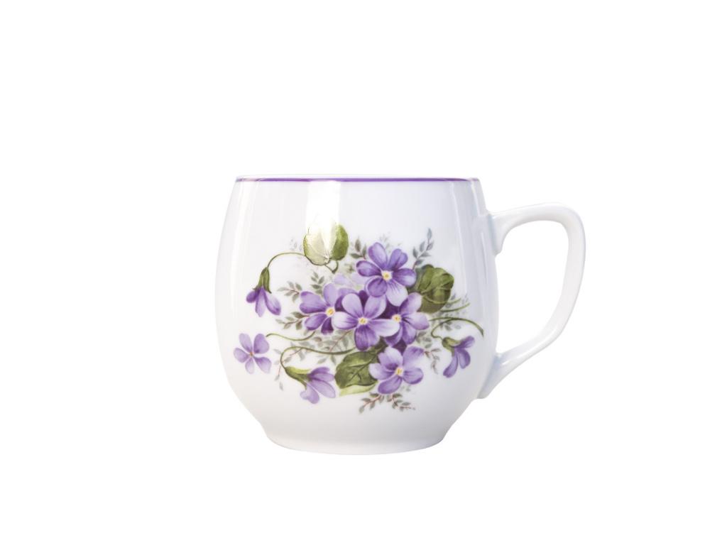 Hrnek Baňák, 300 ml, Český porcelán Dubí, fialky