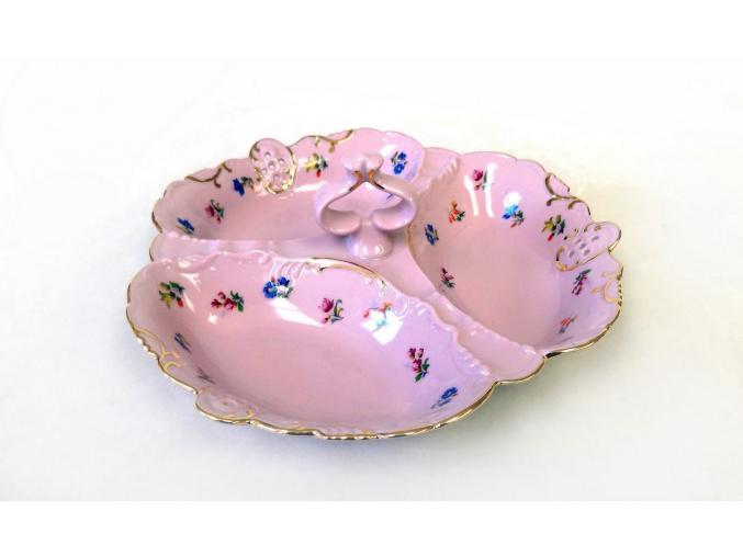 Kabaret trojdílný vykrajovaný, růžový porcelán