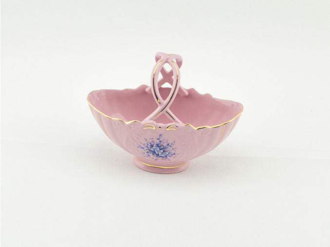 Košík na bonbony 14 cm, růžový porcelán, modré květiny, Leander