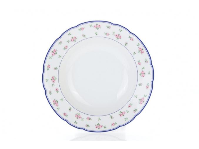 hluboký talíř růžičky modrý lem porcelánový svět