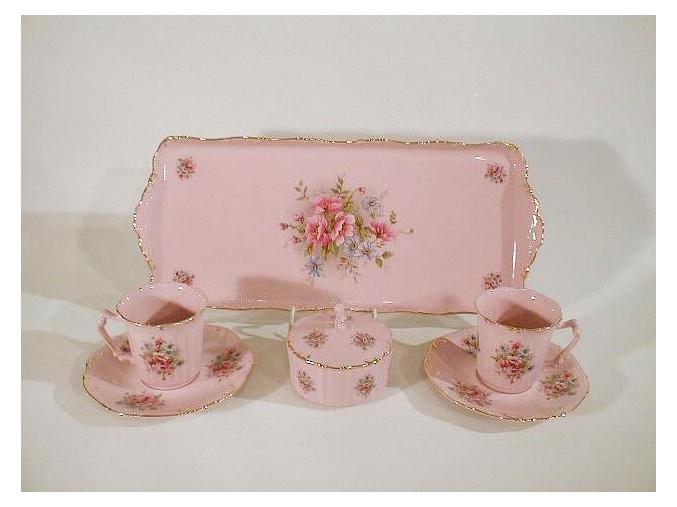 Kávová souprava, růžový porcelán, květiny, Leander, 6 dílná