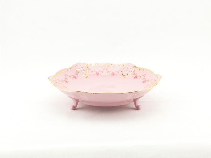 Miska na nožkách hluboká 17 cm, růžový porcelán