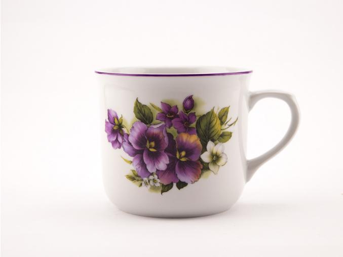 Vařák, porcelánový hrnek 0,65 l, macešky, Český porcelán